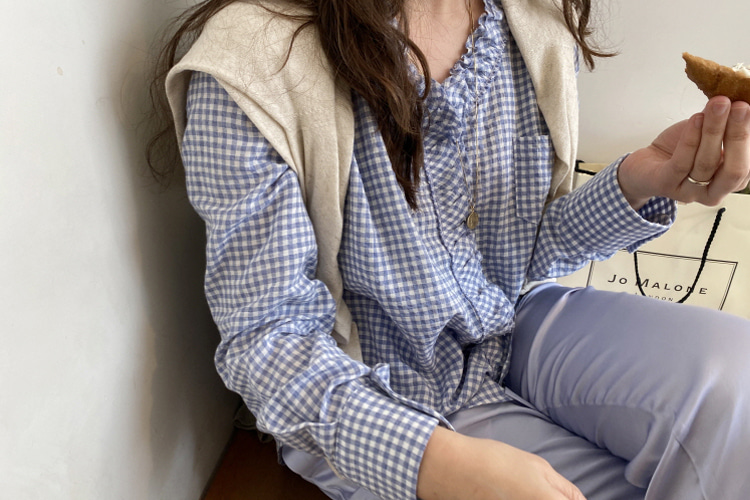 blue check frill blouse